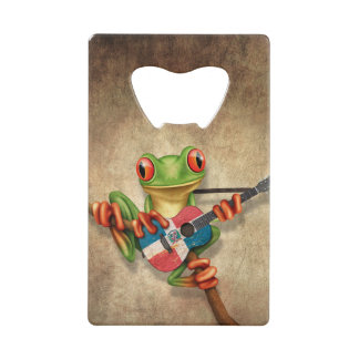 Tree Frog Playing Dominican Flag Guitar Credit Card Bottle Opener