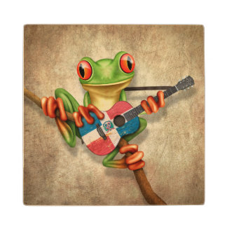 Tree Frog Playing Dominican Flag Guitar Wood Coaster
