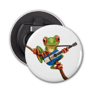 Tree Frog Playing El Salvador Flag Guitar White Button Bottle Opener
