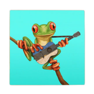 Tree Frog Playing Estonian Flag Guitar Blue Wooden Coaster