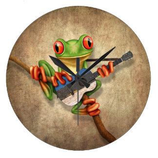 Tree Frog Playing Estonian Flag Guitar Large Clock