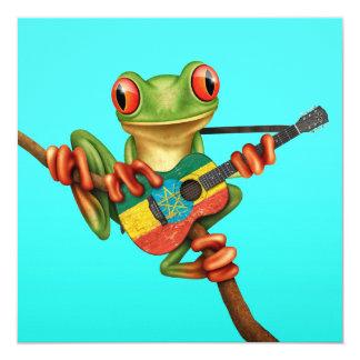 Tree Frog Playing Ethiopian Flag Guitar Blue Card