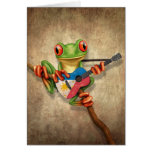 Tree Frog Playing Filipino Flag Guitar Card
