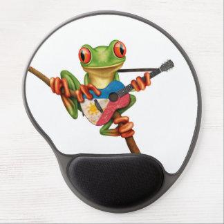 Tree Frog Playing Filipino Flag Guitar White Gel Mouse Pad