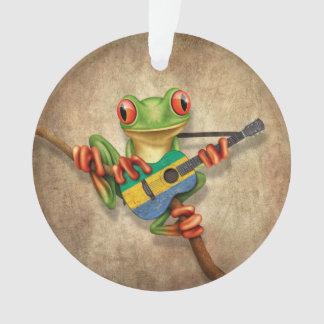 Tree Frog Playing Gabon Flag Guitar Ornament