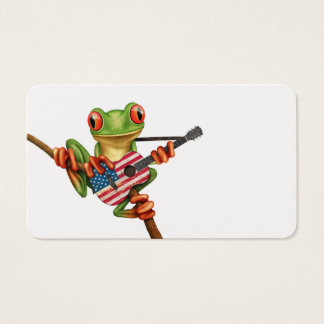 Tree Frog Playing Georgian Flag Guitar White Business Card