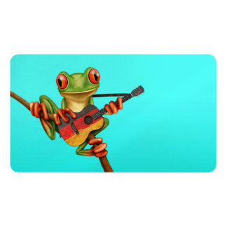 Tree Frog Playing German Flag Guitar Blue Business Card Templates