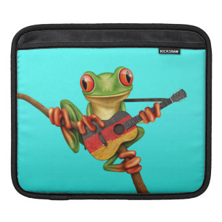 Tree Frog Playing German Flag Guitar Blue iPad Sleeve