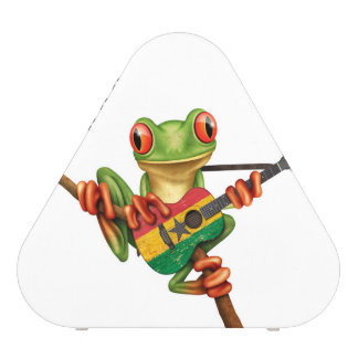 Tree Frog Playing Ghana Flag Guitar White Bluetooth Speaker