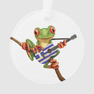 Tree Frog Playing Greek Flag Guitar White Ornament