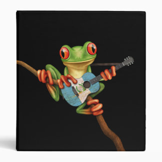 Tree Frog Playing Guatemalan Flag Guitar Black Binder