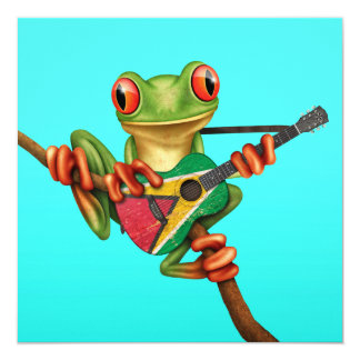 Tree Frog Playing Guyana Flag Guitar Blue Card