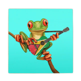 Tree Frog Playing Guyana Flag Guitar Blue Wood Coaster