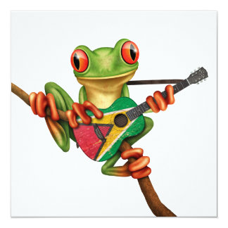 Tree Frog Playing Guyana Flag Guitar White Card