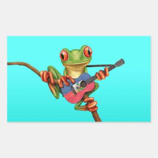 Tree Frog Playing Haitian Flag Guitar Blue Rectangular Sticker
