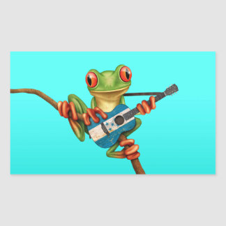 Tree Frog Playing Honduras Flag Guitar Blue Rectangular Sticker
