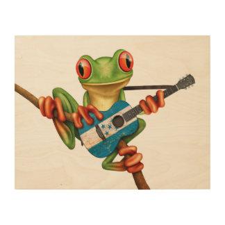 Tree Frog Playing Honduras Flag Guitar White Wood Print