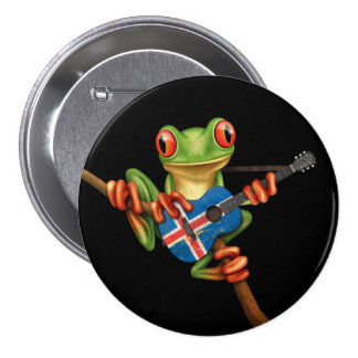 Tree Frog Playing Icelandic Flag Guitar Black 3 Inch Round Button