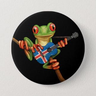 Tree Frog Playing Icelandic Flag Guitar Black Pinback Button
