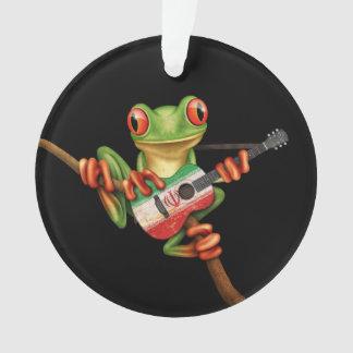 Tree Frog Playing Iranian Flag Guitar Black Ornament