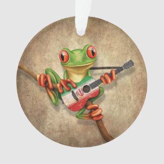 Tree Frog Playing Iranian Flag Guitar Ornament