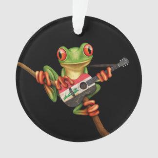 Tree Frog Playing Iraqi Flag Guitar Black Ornament