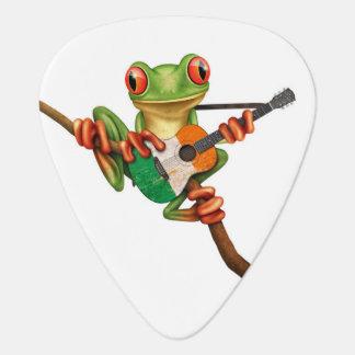 Tree Frog Playing Irish Flag Guitar White Guitar Pick