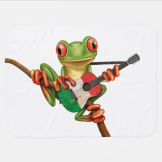 Tree Frog Playing Italian Flag Guitar White Receiving Blanket