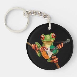 Tree Frog Playing Ivory Coast Flag Guitar Black Double-Sided Round Acrylic Keychain