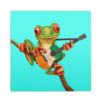 Tree Frog Playing Ivory Coast Flag Guitar Blue Wooden Coaster