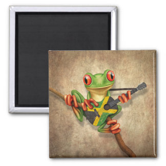 Tree Frog Playing Jamaican Flag Guitar Magnet