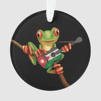 Tree Frog Playing Jordanian Flag Guitar Black Ornament
