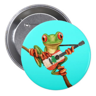 Tree Frog Playing Lebanese Flag Guitar Blue Button