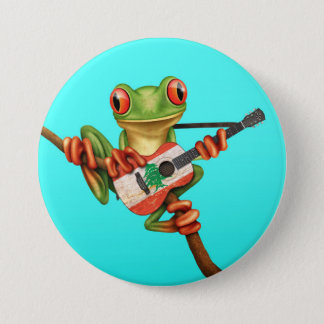 Tree Frog Playing Lebanese Flag Guitar Blue Pinback Button