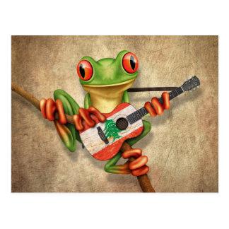 Tree Frog Playing Lebanese Flag Guitar Postcard