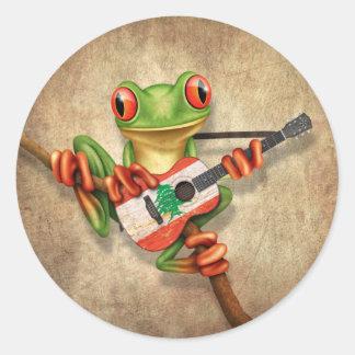 Tree Frog Playing Lebanese Flag Guitar Round Sticker