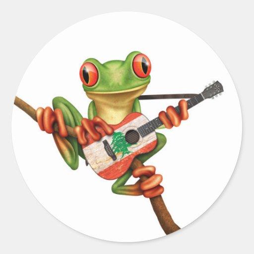 ... Frog Playing Lebanese Flag Guitar White Classic Round Sticker   Zazzle