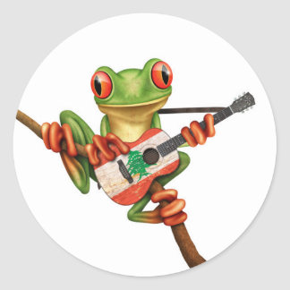 Tree Frog Playing Lebanese Flag Guitar White Round Stickers