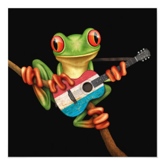 Tree Frog Playing Luxembourg Flag Guitar Black Card