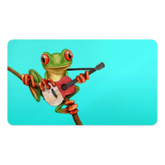 Tree Frog Playing Maltese Flag Guitar Blue Business Cards