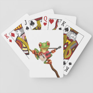 Tree Frog Playing Maltese Flag Guitar White Playing Cards