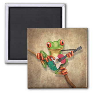 Tree Frog Playing Mexican Flag Guitar Magnet