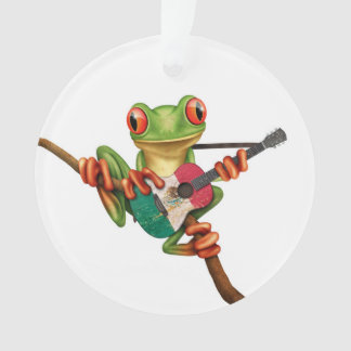 Tree Frog Playing Mexican Flag Guitar White Ornament