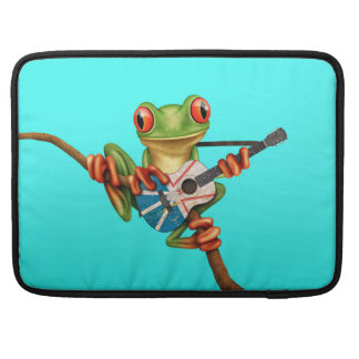 Tree Frog Playing Newfoundland Flag Guitar Blue Sleeves For MacBooks
