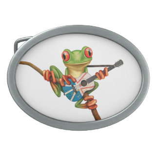 Tree Frog Playing Newfoundland Flag Guitar White Belt Buckle