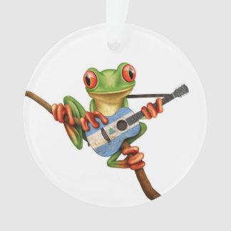 Tree Frog Playing Nicaraguan Flag Guitar White Ornament