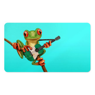 Tree Frog Playing Nigerian Flag Guitar Blue Business Card