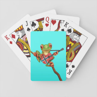 Tree Frog Playing Norwegian Flag Guitar Blue Playing Cards