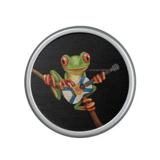 Tree Frog Playing Nova Scotia Flag Guitar Black Bluetooth Speaker