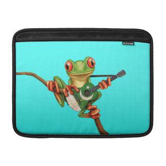 Tree Frog Playing Pakistani Flag Guitar Blue MacBook Air Sleeves